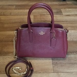 Coach Mini Sage Carryall Crossbody Wine Leather
